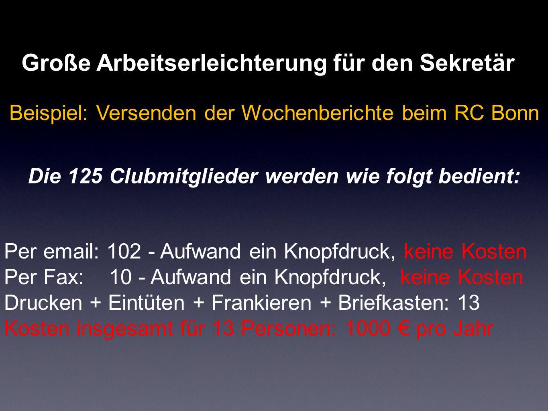 Große Arbeitserleichterung für den Sekretär Beispiel: Versenden der Wochenberichte beim RC Bonn Die 125 Clubmitglieder werden wie folgt bedient: Per e