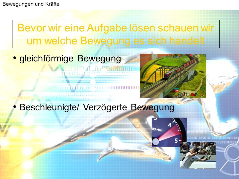 Bewegungen und Kräfte Anhalteweg Berechnung gleichförmige Bewegung verzögerte Bewegung Reaktionsweg = Bremsweg = Formel : V = s/t Umformen nach: s = V * t Formel: a = V/t Umformen nach : t = V/a t einsetzen in : s = ½ * a * t 2 Anhalteweg =Reaktionsweg + Bremsweg Mehr dazu in: http://www.elsenbruch.info/ph11_down/Simulation_Bremsweg.exe Simulation am Computer zum downloaden