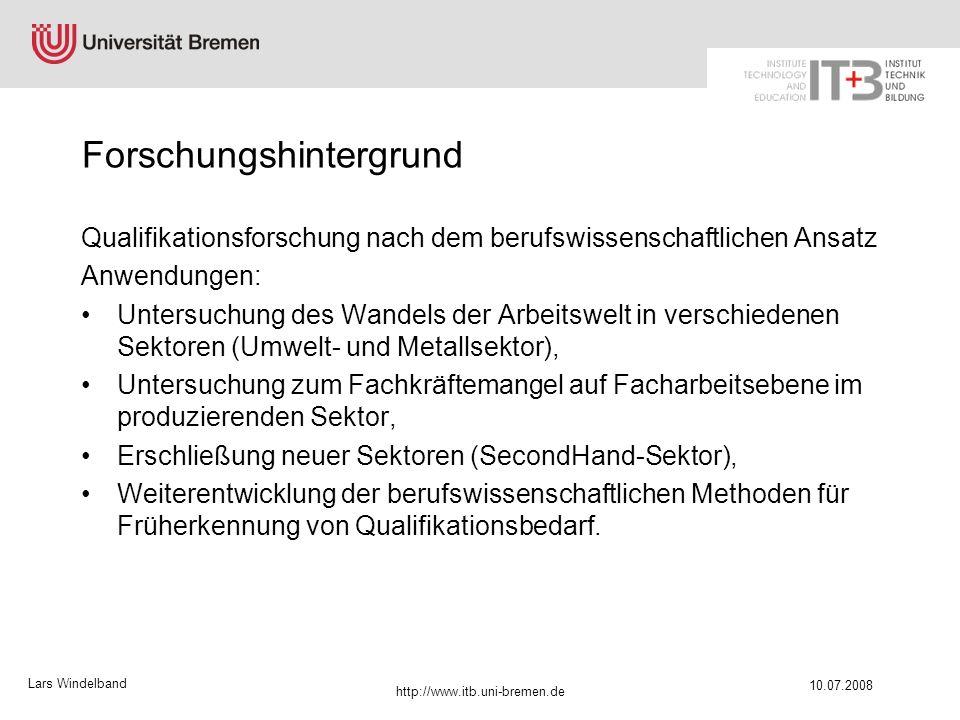 Lars Windelband 10.07.2008 http://www.itb.uni-bremen.de Struktur eines Experten- Facharbeiter-Workshops zur Strukturierung und Clusterung der Arbeitsaufgaben