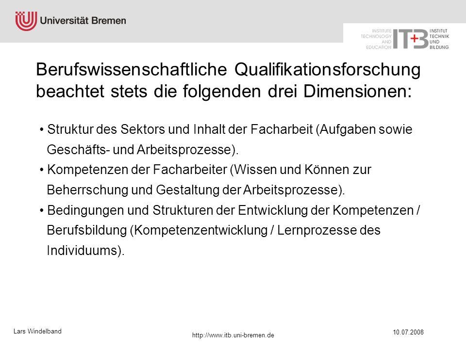 Lars Windelband 10.07.2008 http://www.itb.uni-bremen.de Struktur des Sektors und Inhalt der Facharbeit (Aufgaben sowie Geschäfts- und Arbeitsprozesse)