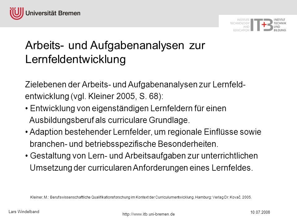 Lars Windelband 10.07.2008 http://www.itb.uni-bremen.de Zielebenen der Arbeits- und Aufgabenanalysen zur Lernfeld- entwicklung (vgl. Kleiner 2005, S.