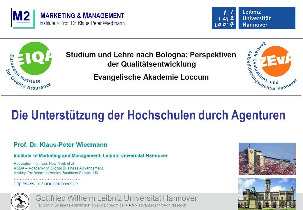 M2 MM M ARKETING & M ANAGEMENT Institute > Prof. Dr. Klaus-Peter Wiedmann Die Unterstützung der Hochschulen durch Agenturen Gottfried Wilhelm Leibniz
