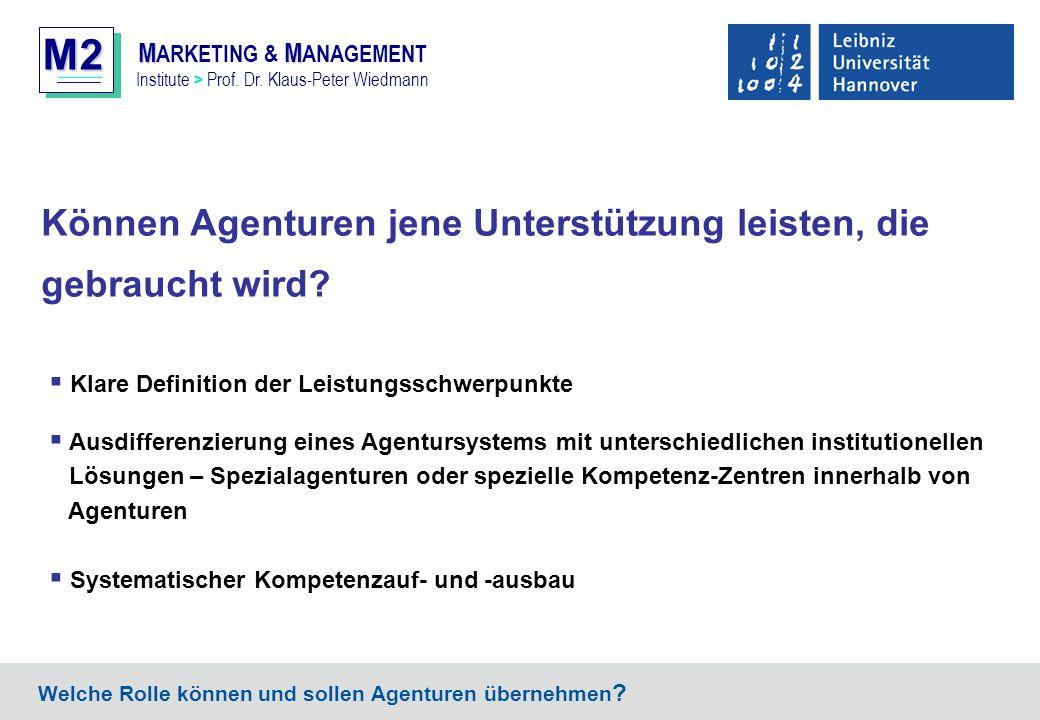 M2 MM M ARKETING & M ANAGEMENT Institute > Prof. Dr. Klaus-Peter Wiedmann Können Agenturen jene Unterstützung leisten, die gebraucht wird? Welche Roll