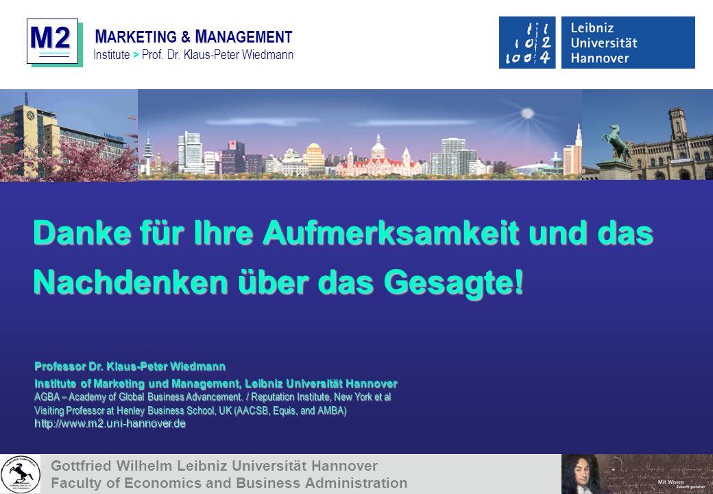 M2 MM M ARKETING & M ANAGEMENT Institute > Prof. Dr. Klaus-Peter Wiedmann Danke für Ihre Aufmerksamkeit und das Nachdenken über das Gesagte! Professor