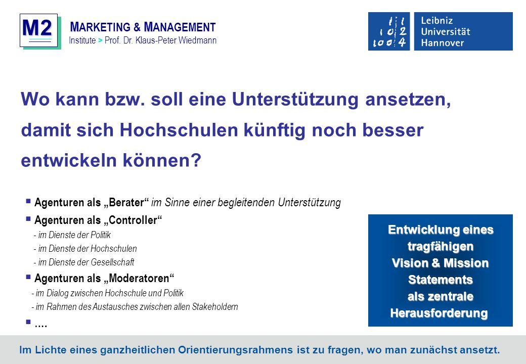 M2 MM M ARKETING & M ANAGEMENT Institute > Prof. Dr. Klaus-Peter Wiedmann Wo kann bzw. soll eine Unterstützung ansetzen, damit sich Hochschulen künfti