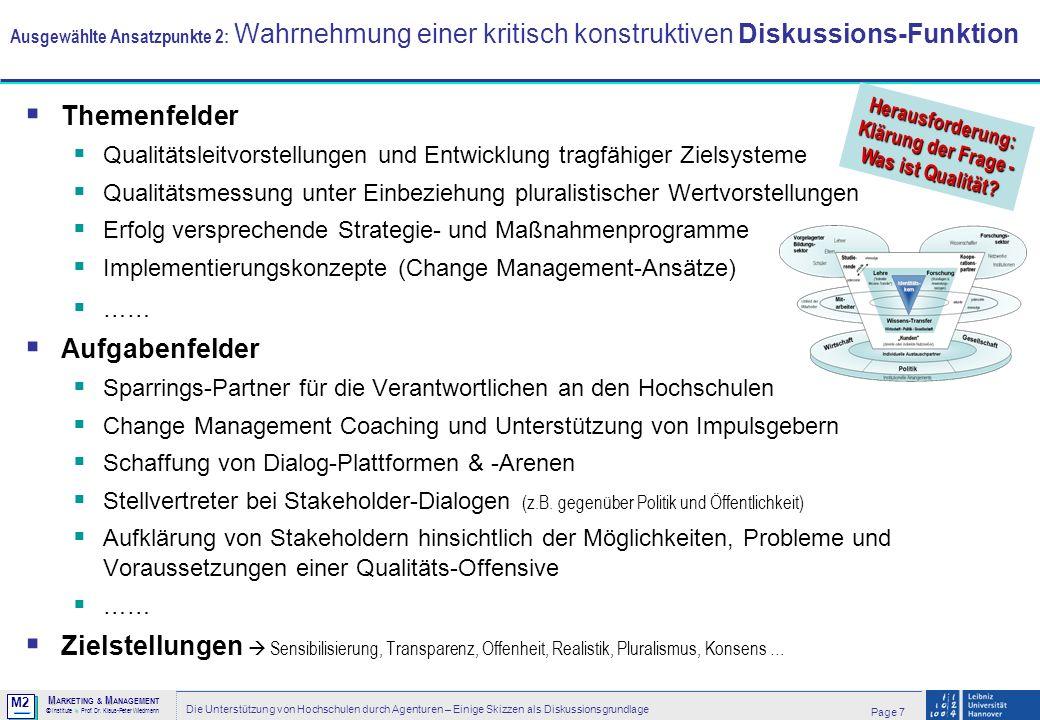 M2 © MM M ARKETING & M ANAGEMENT > Institute > Prof. Dr. Klaus-Peter Wiedmann Page 7 Die Unterstützung von Hochschulen durch Agenturen – Einige Skizze