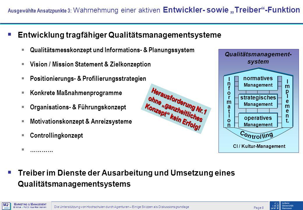 M2 © MM M ARKETING & M ANAGEMENT > Institute > Prof. Dr. Klaus-Peter Wiedmann Page 8 Die Unterstützung von Hochschulen durch Agenturen – Einige Skizze
