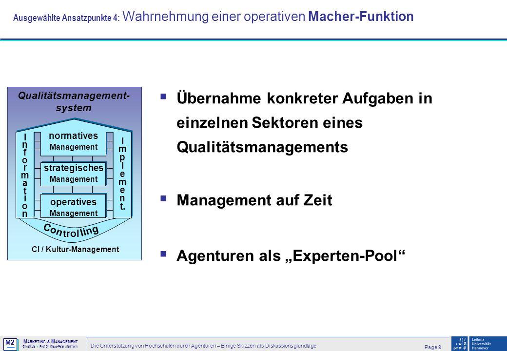 M2 © MM M ARKETING & M ANAGEMENT > Institute > Prof. Dr. Klaus-Peter Wiedmann Page 9 Die Unterstützung von Hochschulen durch Agenturen – Einige Skizze