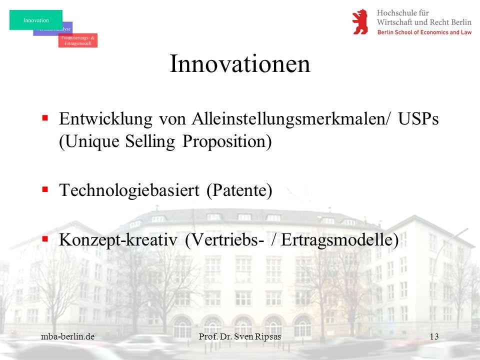mba-berlin.deProf. Dr. Sven Ripsas13 Innovationen Entwicklung von Alleinstellungsmerkmalen/ USPs (Unique Selling Proposition) Technologiebasiert (Pate