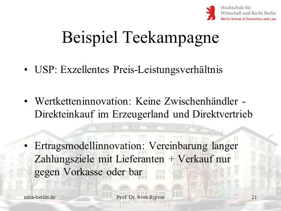 mba-berlin.deProf. Dr. Sven Ripsas21 Beispiel Teekampagne USP: Exzellentes Preis-Leistungsverhältnis Wertketteninnovation: Keine Zwischenhändler - Dir