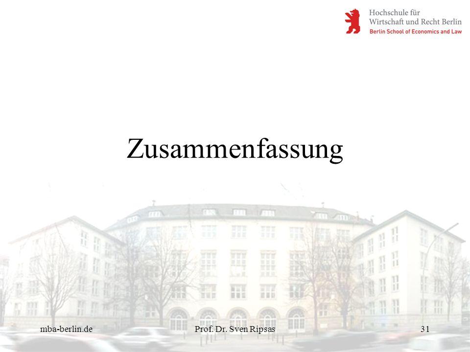 mba-berlin.deProf. Dr. Sven Ripsas31 Zusammenfassung