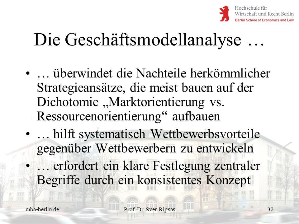 mba-berlin.deProf. Dr. Sven Ripsas32 Die Geschäftsmodellanalyse … … überwindet die Nachteile herkömmlicher Strategieansätze, die meist bauen auf der D