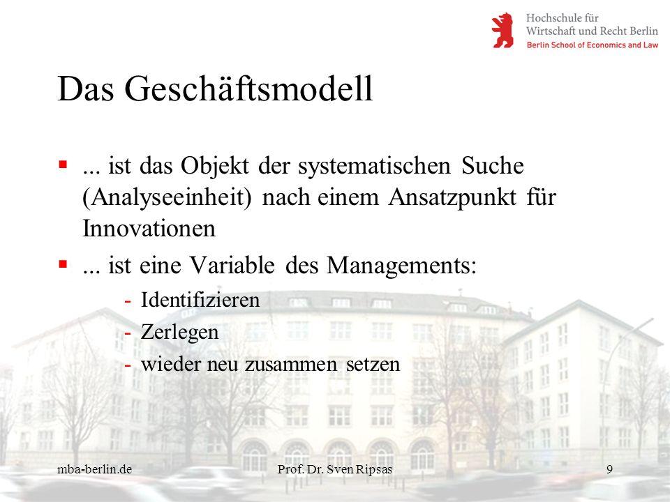 mba-berlin.deProf. Dr. Sven Ripsas9 Das Geschäftsmodell... ist das Objekt der systematischen Suche (Analyseeinheit) nach einem Ansatzpunkt für Innovat