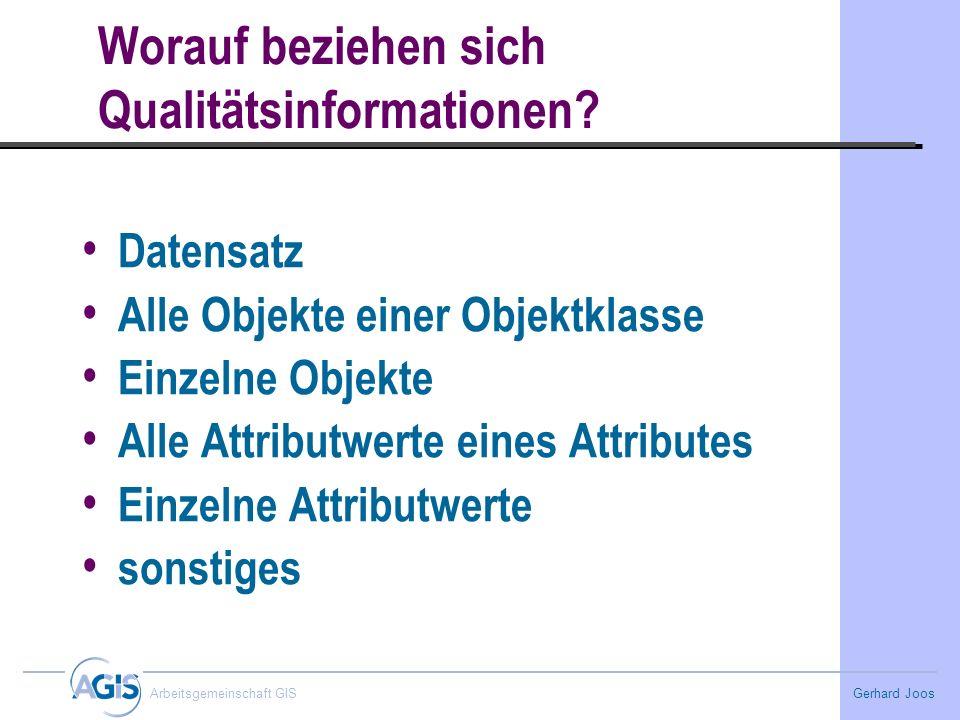 Gerhard Joos Arbeitsgemeinschaft GIS Worauf beziehen sich Qualitätsinformationen? Datensatz Alle Objekte einer Objektklasse Einzelne Objekte Alle Attr