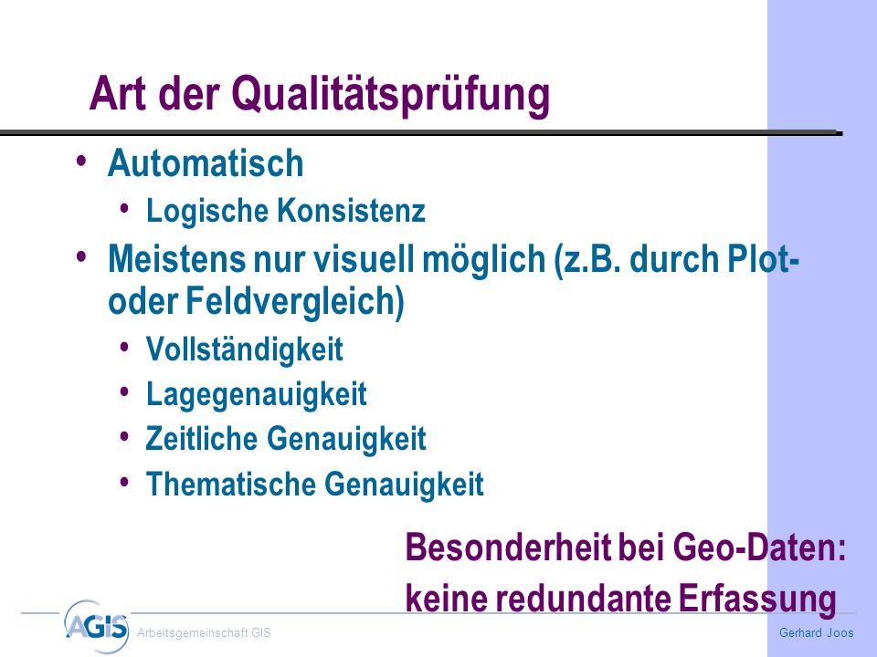 Gerhard Joos Arbeitsgemeinschaft GIS Art der Qualitätsprüfung Automatisch Logische Konsistenz Meistens nur visuell möglich (z.B. durch Plot- oder Feld