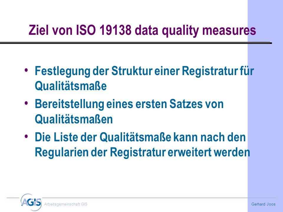 Gerhard Joos Arbeitsgemeinschaft GIS Ziel von ISO 19138 data quality measures Festlegung der Struktur einer Registratur für Qualitätsmaße Bereitstellu