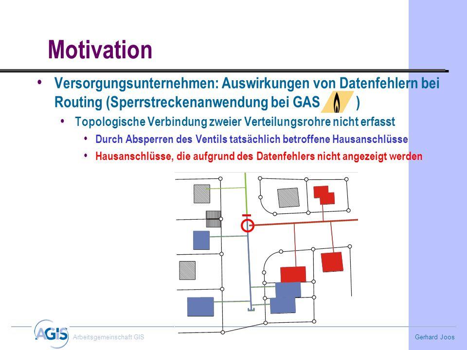 Gerhard Joos Arbeitsgemeinschaft GIS Motivation Versorgungsunternehmen: Auswirkungen von Datenfehlern bei Routing (Sperrstreckenanwendung bei GAS ) To