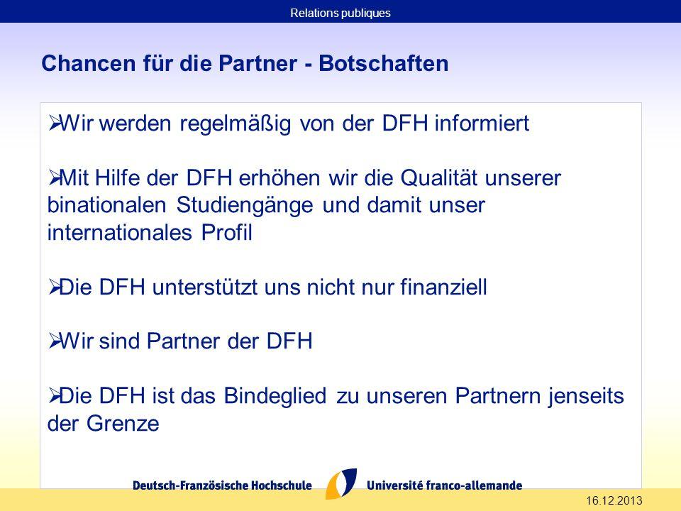 16.12.2013 Chancen für die Partner - Botschaften Wir werden regelmäßig von der DFH informiert Mit Hilfe der DFH erhöhen wir die Qualität unserer binat