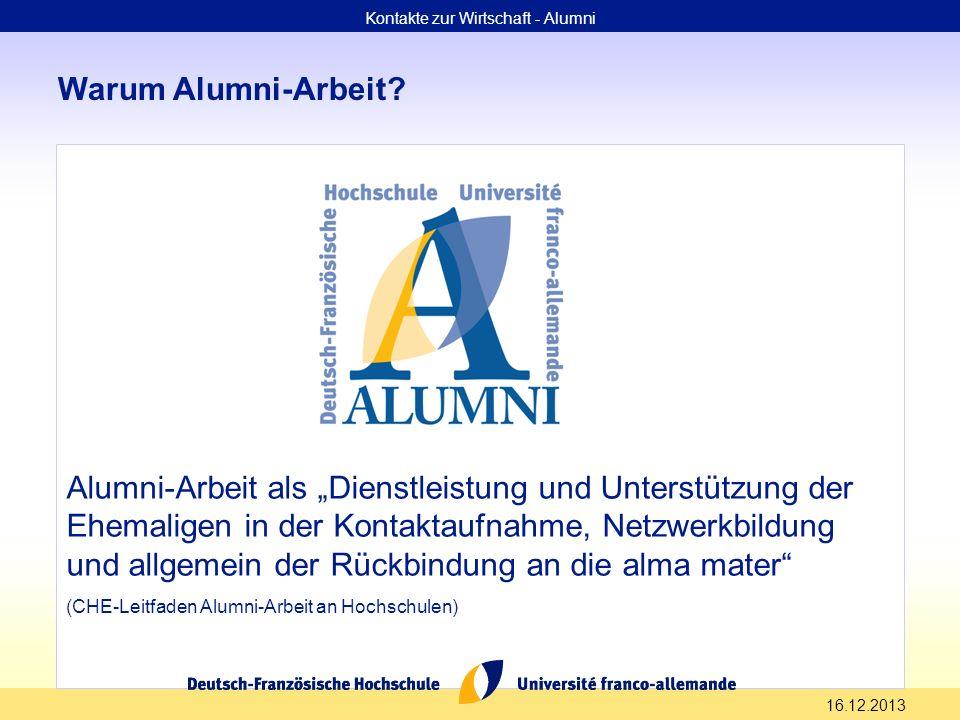 16.12.2013 Warum Alumni-Arbeit? Alumni-Arbeit als Dienstleistung und Unterstützung der Ehemaligen in der Kontaktaufnahme, Netzwerkbildung und allgemei