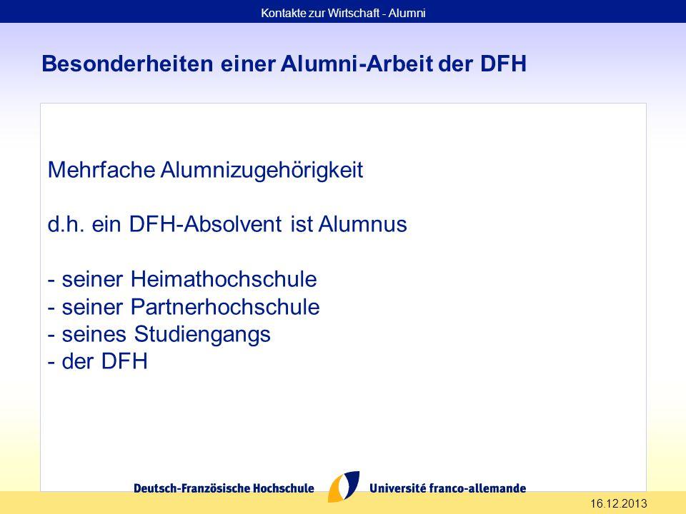 16.12.2013 Besonderheiten einer Alumni-Arbeit der DFH Mehrfache Alumnizugehörigkeit d.h. ein DFH-Absolvent ist Alumnus - seiner Heimathochschule - sei