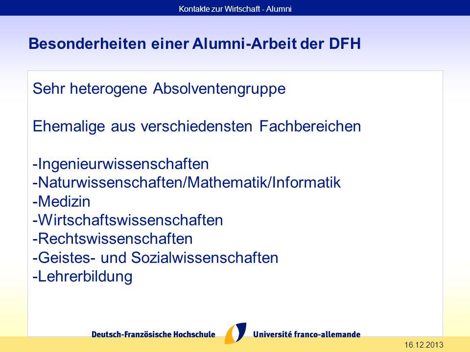 16.12.2013 Besonderheiten einer Alumni-Arbeit der DFH Sehr heterogene Absolventengruppe Ehemalige aus verschiedensten Fachbereichen -Ingenieurwissensc