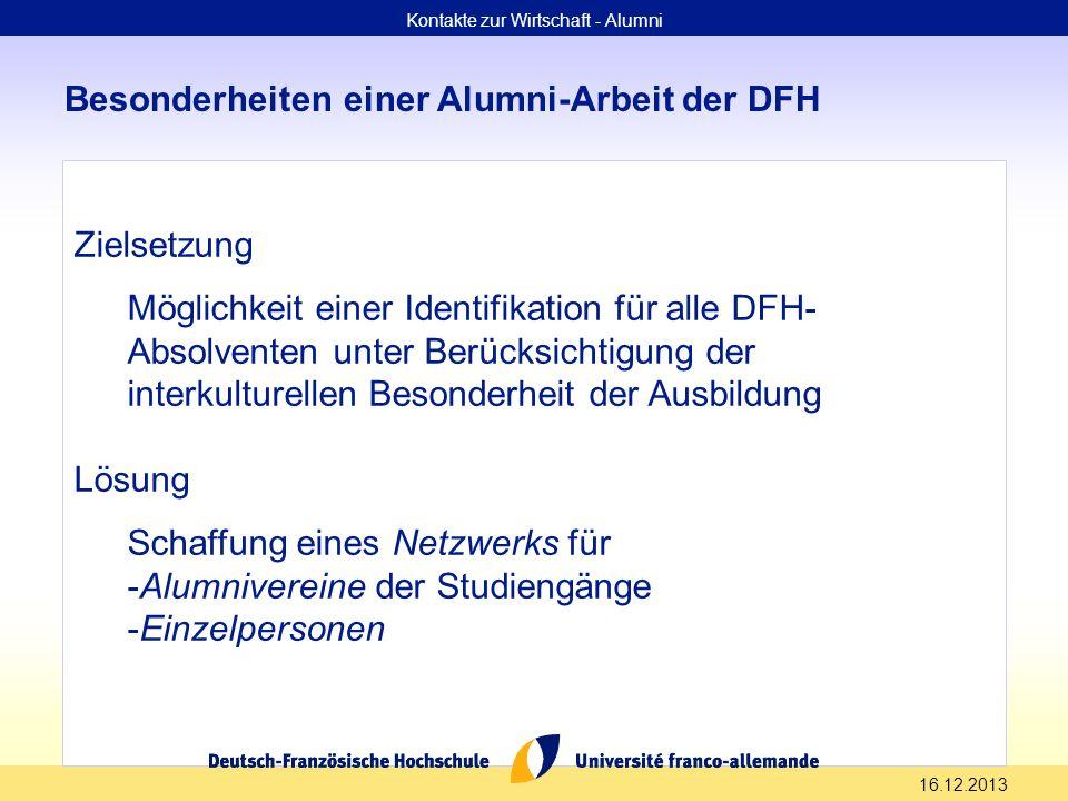 16.12.2013 Besonderheiten einer Alumni-Arbeit der DFH Zielsetzung Möglichkeit einer Identifikation für alle DFH- Absolventen unter Berücksichtigung de