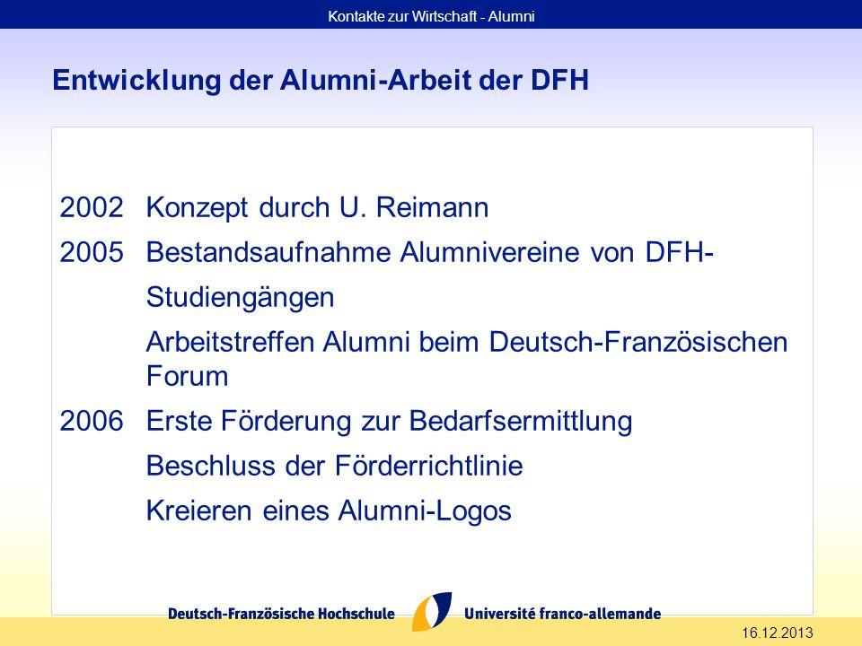 16.12.2013 Entwicklung der Alumni-Arbeit der DFH Kontakte zur Wirtschaft - Alumni 2002Konzept durch U. Reimann 2005Bestandsaufnahme Alumnivereine von