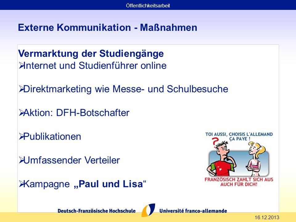 16.12.2013 Externe Kommunikation - Maßnahmen Vermarktung der Studiengänge Internet und Studienführer online Direktmarketing wie Messe- und Schulbesuch