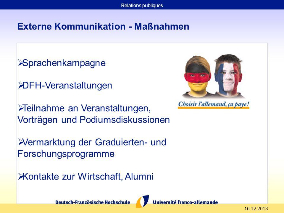16.12.2013 Externe Kommunikation - Maßnahmen Sprachenkampagne DFH-Veranstaltungen Teilnahme an Veranstaltungen, Vorträgen und Podiumsdiskussionen Verm