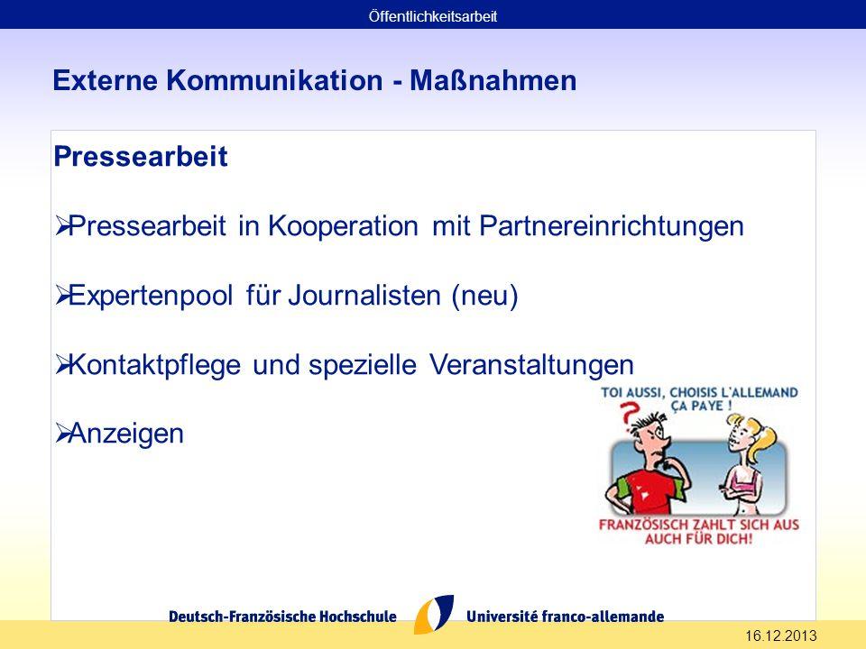 16.12.2013 Externe Kommunikation - Maßnahmen Pressearbeit Pressearbeit in Kooperation mit Partnereinrichtungen Expertenpool für Journalisten (neu) Kon