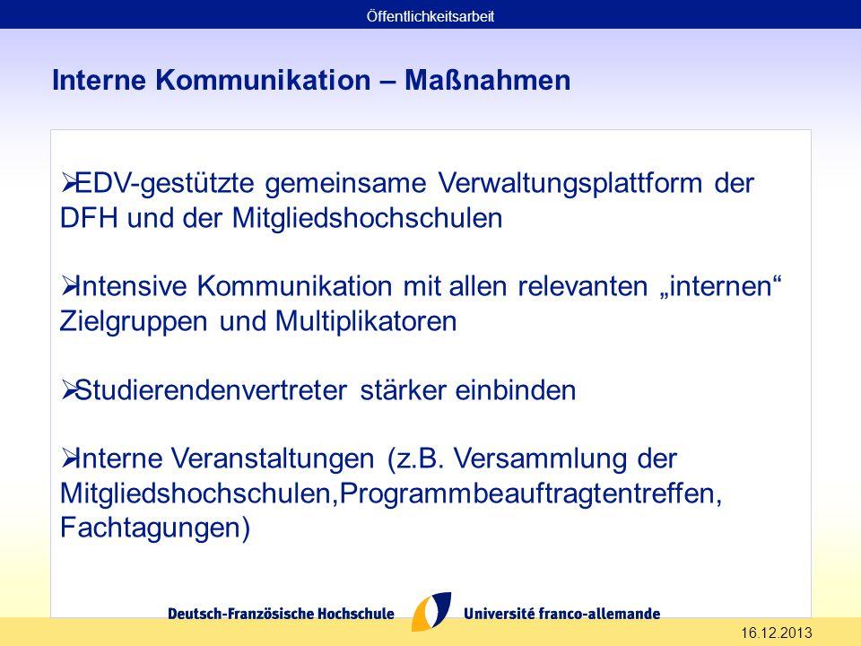 16.12.2013 Interne Kommunikation – Maßnahmen EDV-gestützte gemeinsame Verwaltungsplattform der DFH und der Mitgliedshochschulen Intensive Kommunikatio