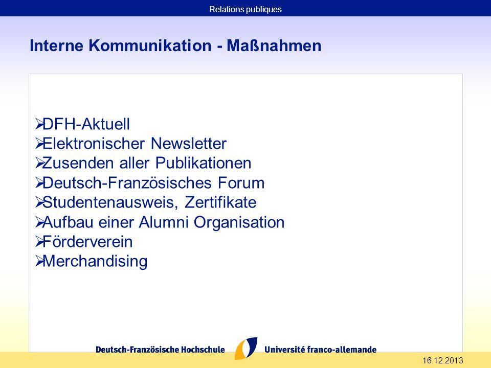 16.12.2013 Interne Kommunikation - Maßnahmen DFH-Aktuell Elektronischer Newsletter Zusenden aller Publikationen Deutsch-Französisches Forum Studentena