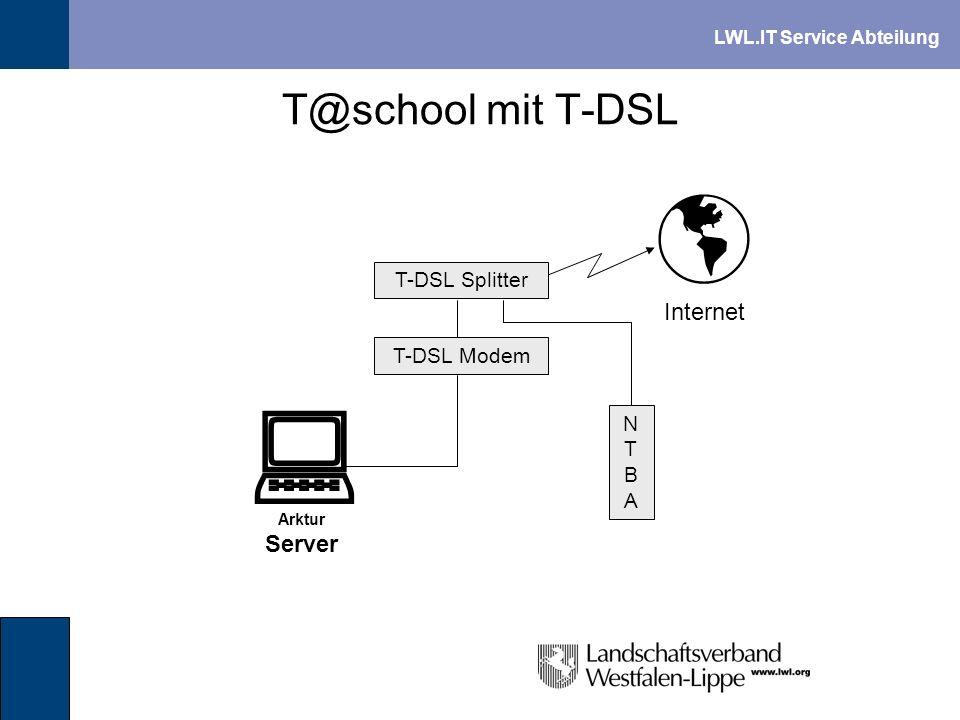 LWL.IT Service Abteilung T@school mit T-DSL Arktur Server Internet NTBANTBA T-DSL Splitter T-DSL Modem