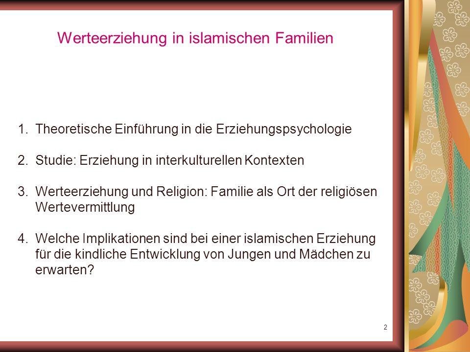 1 Erziehung in islamischen Familien – Werteauffassungen im interkulturellen Vergleich PD Dr. Haci-Halil Uslucan Allgemeine Psychologie Universität Pot