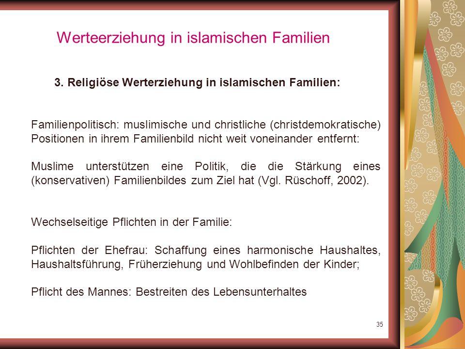 34 Werteerziehung in islamischen Familien Rangreihe der Erziehungsziele deutscher Eltern (Scherberger, 1999) ErziehungszielRangplatz IIIIIIIVV Selbsts