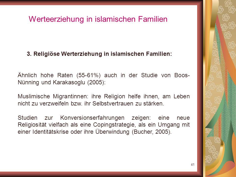 40 Werteerziehung in islamischen Familien 3. Religiöse Werterziehung in islamischen Familien: Funktion von Moscheen: eigene Identität unter seinesglei