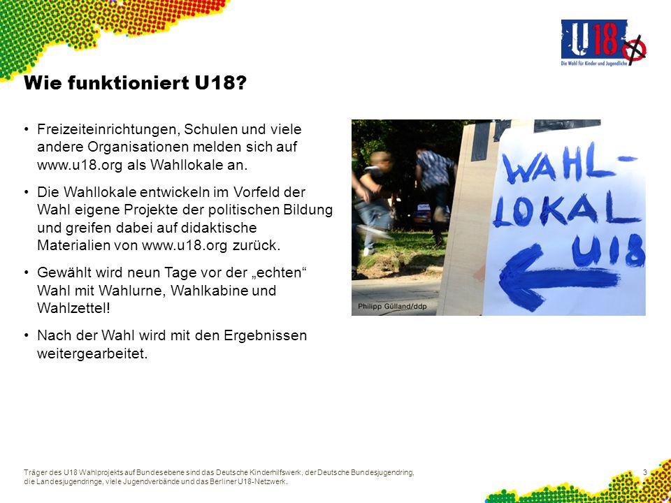 U18 ist ausgezeichnet Träger des U18 Wahlprojekts auf Bundesebene sind das Deutsche Kinderhilfswerk, der Deutsche Bundesjugendring, die Landesjugendringe, viele Jugendverbände und das Berliner U18-Netzwerk.