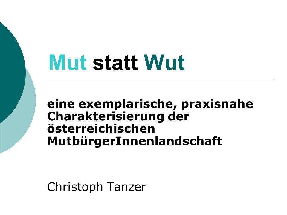 Mut statt Wut eine exemplarische, praxisnahe Charakterisierung der österreichischen MutbürgerInnenlandschaft Christoph Tanzer