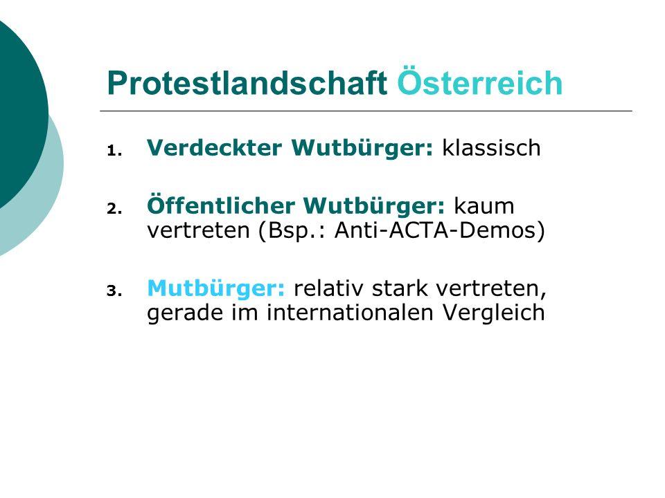 1. Verdeckter Wutbürger: klassisch 2. Öffentlicher Wutbürger: kaum vertreten (Bsp.: Anti-ACTA-Demos) 3. Mutbürger: relativ stark vertreten, gerade im