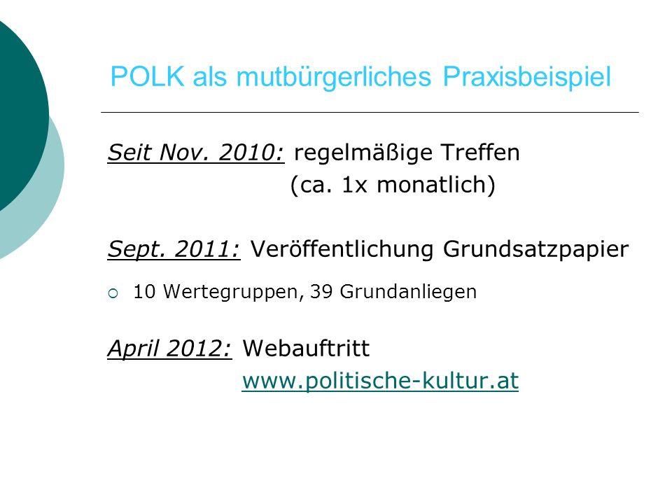 Seit Nov. 2010: regelmäßige Treffen (ca. 1x monatlich) Sept. 2011: Veröffentlichung Grundsatzpapier 10 Wertegruppen, 39 Grundanliegen April 2012: Weba