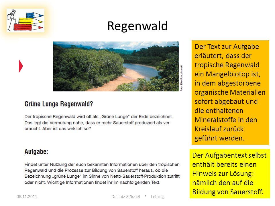 08.11.2011Dr. Lutz Stäudel * Leipzig14 Regenwald Der Text zur Aufgabe erläutert, dass der tropische Regenwald ein Mangelbiotop ist, in dem abgestorben