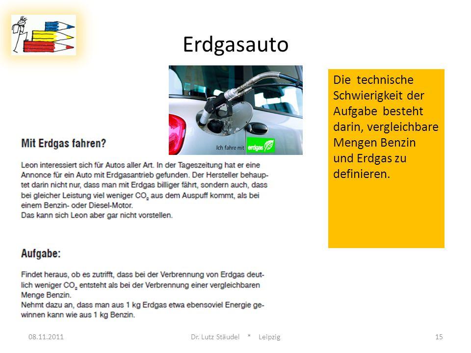 08.11.2011Dr. Lutz Stäudel * Leipzig15 Erdgasauto Die technische Schwierigkeit der Aufgabe besteht darin, vergleichbare Mengen Benzin und Erdgas zu de