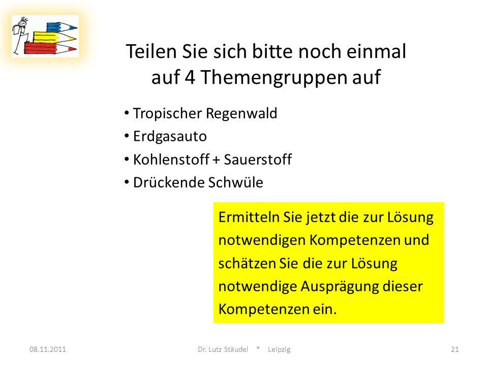 08.11.2011Dr. Lutz Stäudel * Leipzig21 Teilen Sie sich bitte noch einmal auf 4 Themengruppen auf Tropischer Regenwald Erdgasauto Kohlenstoff + Sauerst