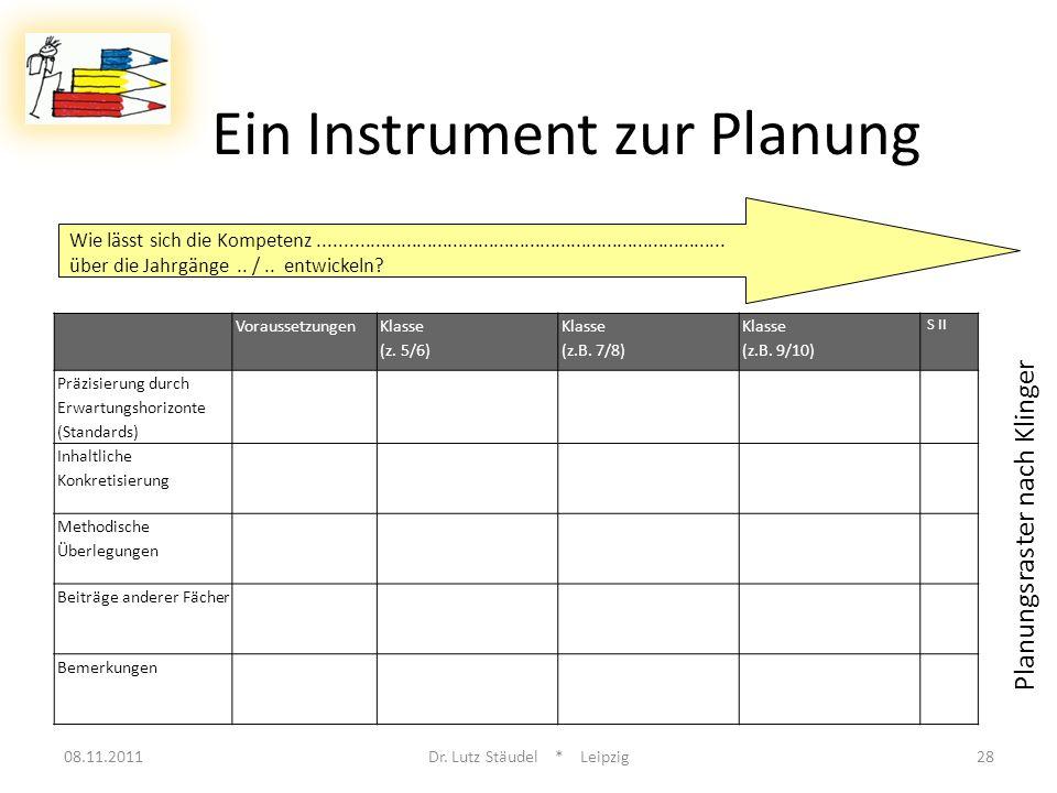 Ein Instrument zur Planung 08.11.2011Dr. Lutz Stäudel * Leipzig28 Voraussetzungen Klasse (z. 5/6) Klasse (z.B. 7/8) Klasse (z.B. 9/10) S II Präzisieru