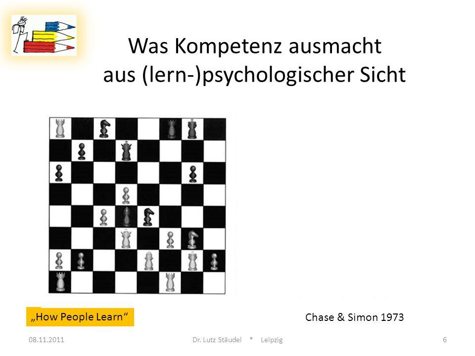 How People Learn Chase & Simon 1973 Was Kompetenz ausmacht aus (lern-)psychologischer Sicht 08.11.2011Dr. Lutz Stäudel * Leipzig6
