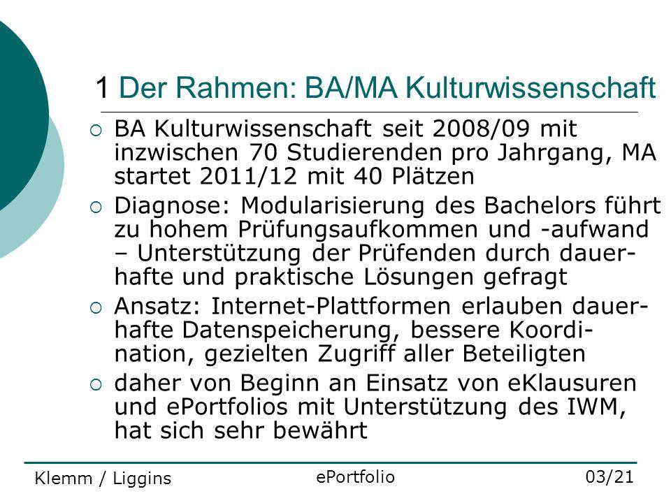 1 Der Rahmen: BA/MA Kulturwissenschaft BA Kulturwissenschaft seit 2008/09 mit inzwischen 70 Studierenden pro Jahrgang, MA startet 2011/12 mit 40 Plätz