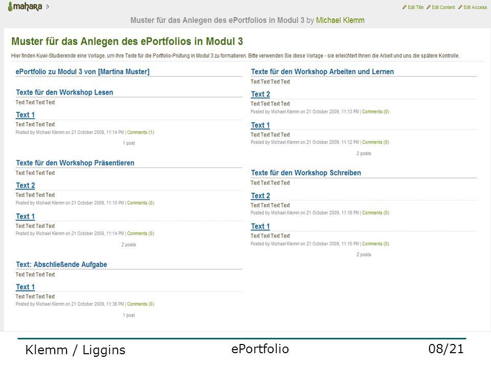 2 ePortfolio als Prüfungsinstrument 08/21ePortfolio Klemm / Liggins