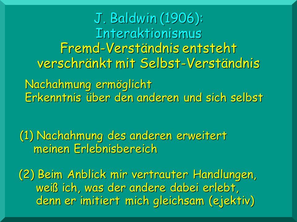 (2) Beim Anblick mir vertrauter Handlungen, weiß ich, was der andere dabei erlebt, denn er imitiert mich gleichsam (ejektiv) J. Baldwin (1906): Intera