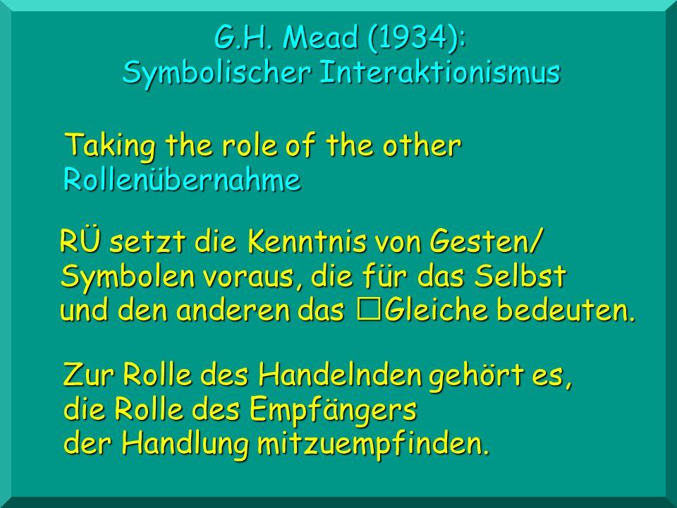 G.H. Mead (1934): Symbolischer Interaktionismus Taking the role of the other Rollenübernahme RÜ setzt die Kenntnis von Gesten/ Symbolen voraus, die fü