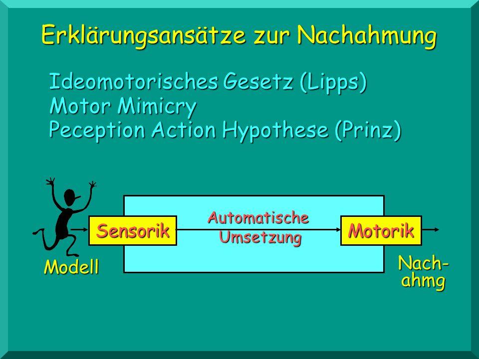 Erklärungsansätze zur Nachahmung Theorie des sozialen Lernens (Bandura) Imaginale und verbale Vorstellung vom Modell als Vermittlung SensorikMotorik Imaginale und verbale Vorstellungen Modell Nach-ahmg